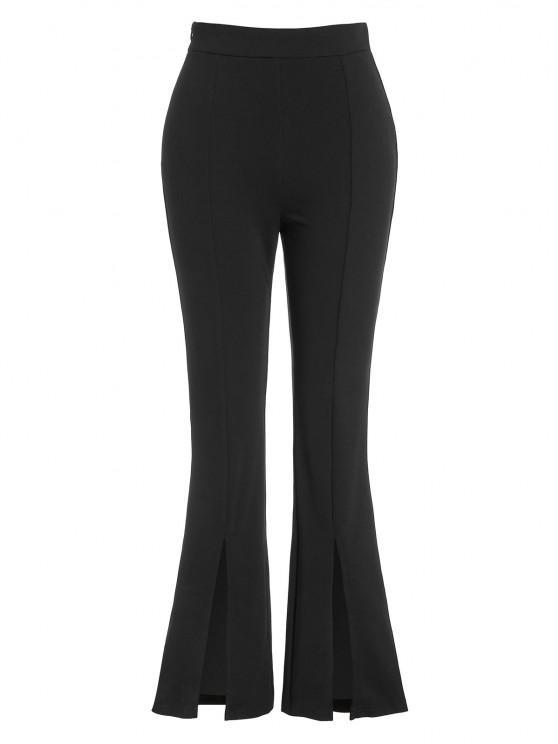 latest ZAFUL High Waist Front Slit Bootcut Pants - BLACK S