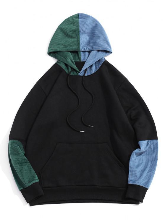 Colorblock Panel Fleece Lined Hoodie - أسود 2XL