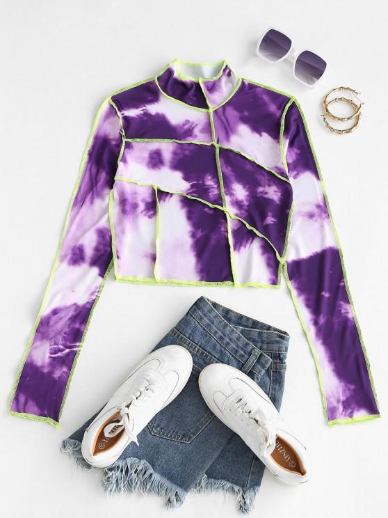 Tie Dye Neon Topstitch Trim Baby Tee - أرجواني S