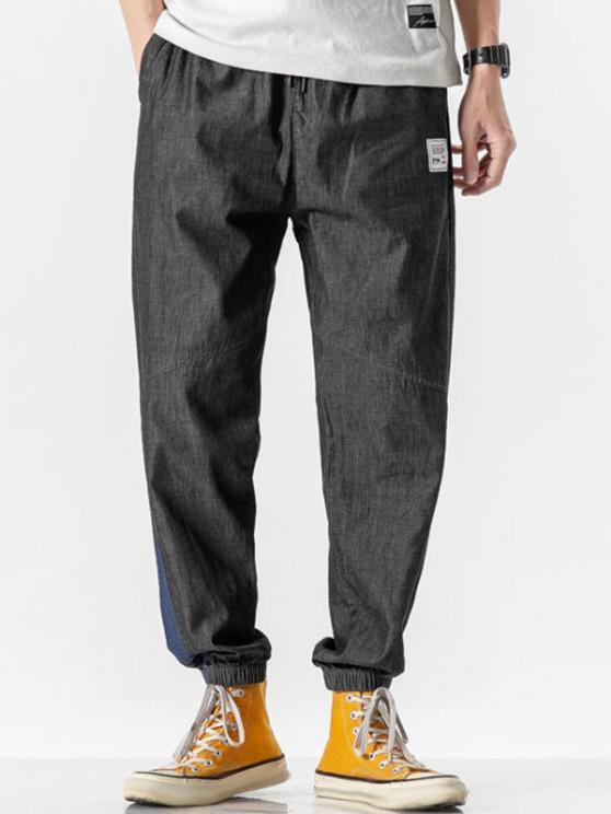 outfit Letter Patched Colorblock Panel Jean Pants - BLACK XL