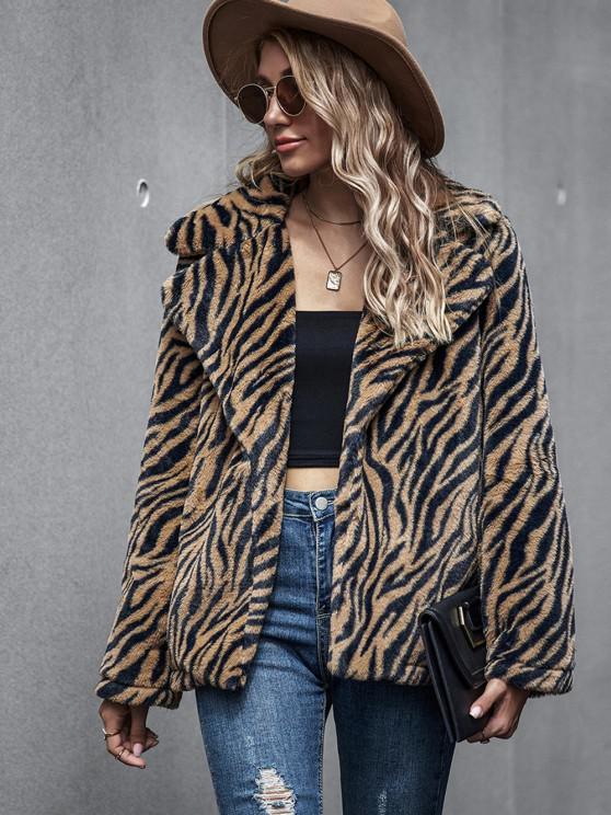 Zebra Fluffy Faux Fur Open Front Coat - قهوة M