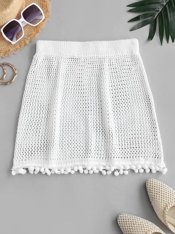 best Pom-pom Crochet Beach Skirt - WHITE ONE SIZE