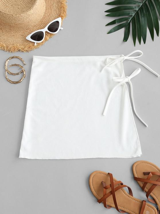 online Side Ties Rib-knit Beach Skirt - WHITE ONE SIZE