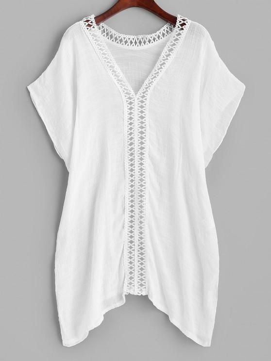 new Crochet Trim Side Slit Cover Up Top - WHITE ONE SIZE
