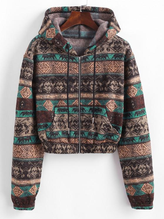 ZAFUL Ethnic Knit Fleece Lined Zip Hoodie - متعددة-A S