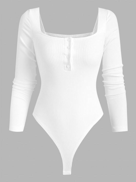 new Ribbed Button Placket High Leg Bodysuit - WHITE M