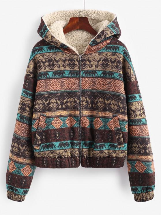 womens ZAFUL Hooded Ethnic Knit Pocket Teddy Lined Jacket - MULTI-A M