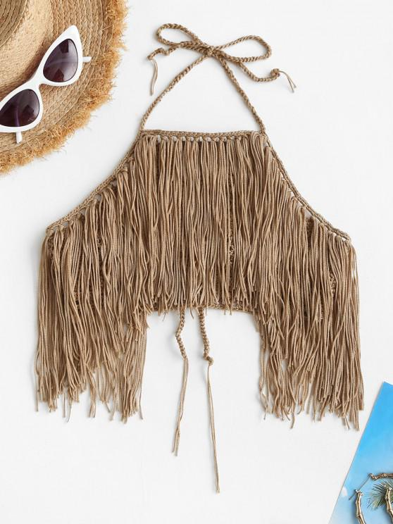 new High Neck Crochet Fringed Bikini Top - CAMEL BROWN ONE SIZE