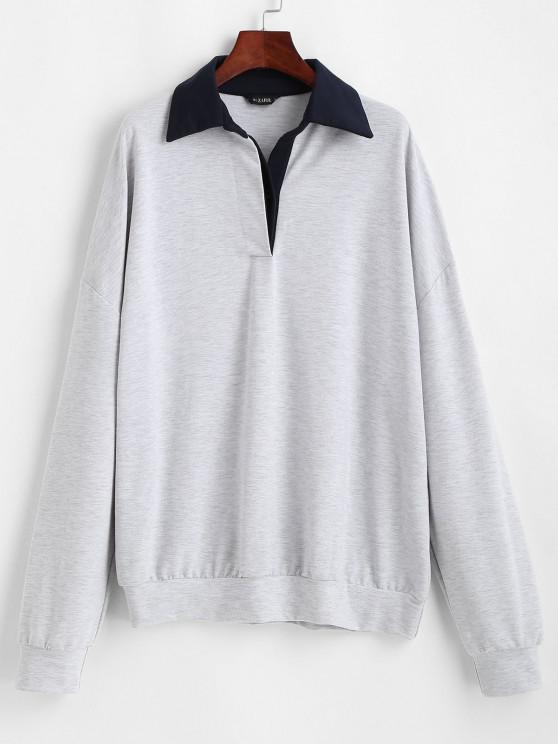 Contrast Collar Button Front Oversize Sweatshirt - رمادي فاتح S