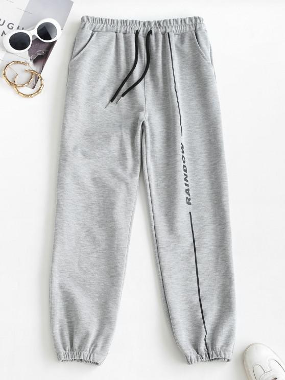 Pantalon de Jogging de Neuf Minutes Lettre Imprimée à Cordon - Gris Foncé 2XL