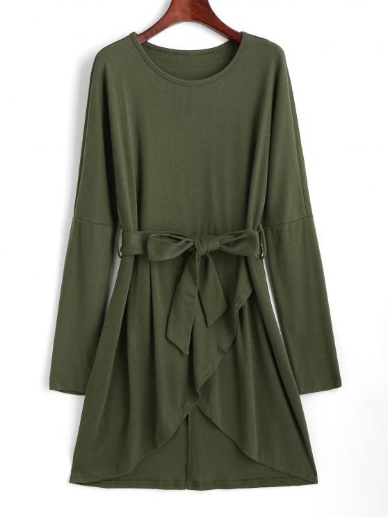 women Drop Shoulder Belted Tulip Dress - LIGHT GREEN M