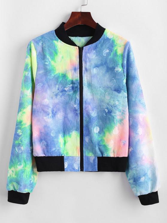 women Zip Up Tie Dye Corduroy Jacket - BLUE M
