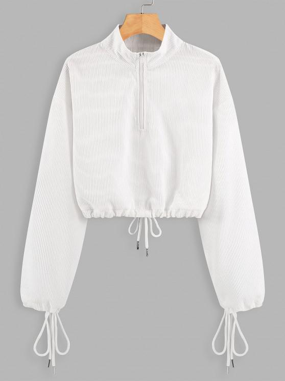 Half Zip Drawstring Cropped Sweatshirt - أبيض S