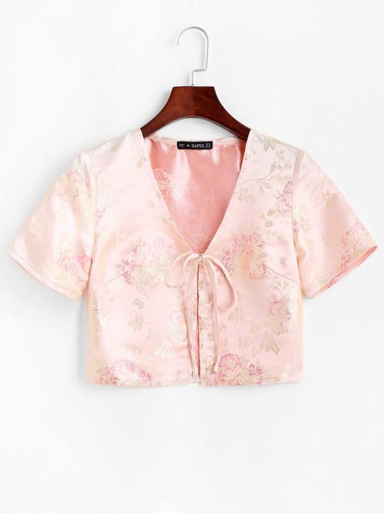 Floral Jacquard Tie Front Oriental Top - أصفر فاتح L