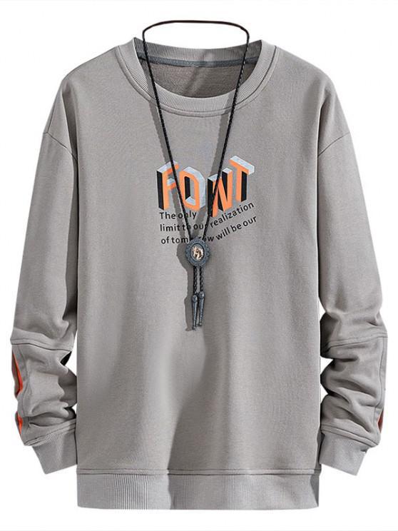 Slogan Printed Crew Neck Sweatshirt - رمادي فاتح S