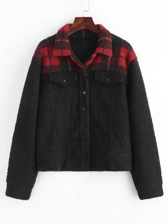 best Flap Detail Plaid Faux Fur Coat - BLACK L