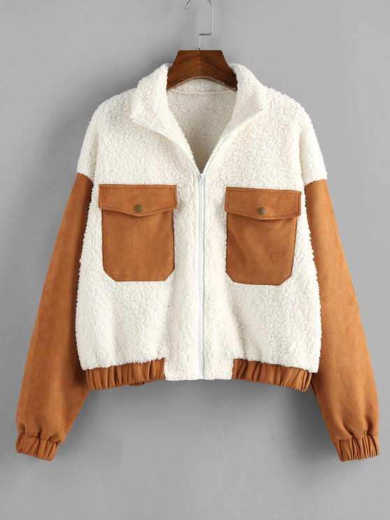 ladies ZAFUL Patchwork Suede Panel Teddy Coat - WHITE M