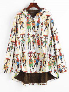 Faux Fur Lined Indian Print High Low Coat - Multi S