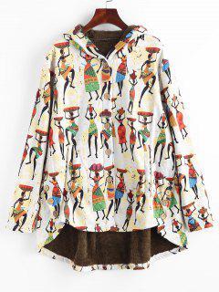 Manteau Haut Bas Indien Imprimé à Doublure En Fausse Fourrure - Multi M