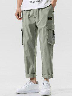Side Flap Pocket Letter Patch Pants - Light Green L