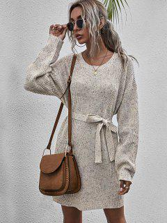 Belted Heathered Mini Sweater Dress - Multi-a L