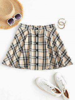Plaid Button Fly A Line Skirt - Light Coffee M