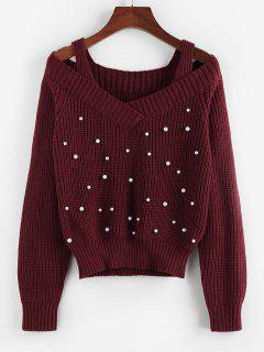 ZAFUL Cold Shoulder Beaded Cutout Sweater - Deep Red S