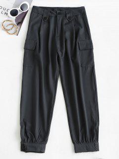 Pantaloni Cargo A Vita Alta Con Tasche - Grigio Scuro M