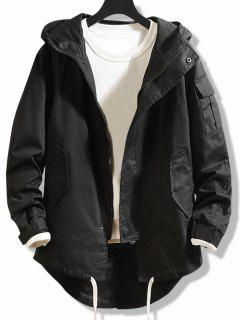 High Low Multi-pocket Hooded Jacket - Black Xs