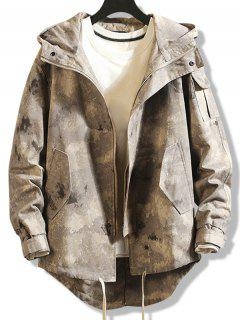 High Low Multi-pocket Hooded Jacket - Digital Desert Camouflage Xs