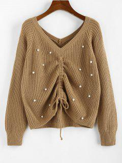 ZAFUL Beading Cinched Raglan Sleeve V Neck Sweater - Light Coffee L