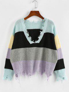ZAFUL Colorblock Ripped V Neck Sweater - Multi-m M