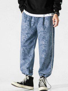 Camouflage Print Beam Feet Pants - Silk Blue M