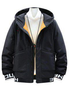 Hooded Letter Print Colorful Lines Detail Padded Jacket - Black S