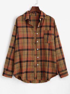 Plaid Front Pocket Flannel Shirt - Coffee Xs