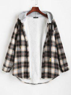 Plaid Buttoned Curved Hem Hooded Coat - Black M