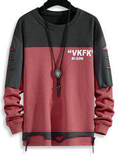 Letter Print Colorblock Patchwork Ripped Sweatshirt - Cherry Red Xs