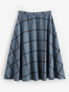 ZAFUL Plaid Tartan Wool Blend Swing Skirt - Deep Blue M
