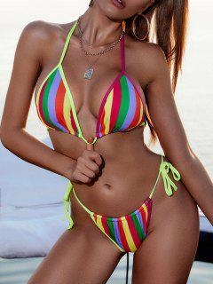 ZAFUL Ribbed Rainbow Striped Tie String Bikini Swimwear - Multi M