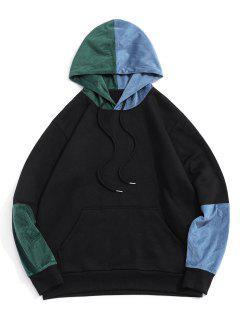 Colorblock Panel Fleece Lined Hoodie - Black M
