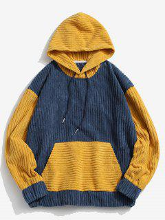 Two Tone Front Pocket Corduroy Hoodie - Blue S