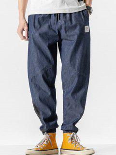 Letter Patched Colorblock Panel Jean Pants - Deep Blue Xs