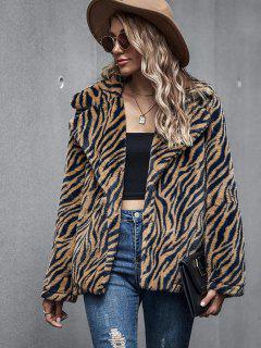 Zebra Fluffy Faux Fur Open Front Coat - Coffee M