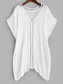 Crochet Trim Side Slit Cover Up Top - White