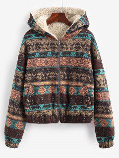 ZAFUL Hooded Ethnic Knit Pocket Teddy Lined Jacket - Multi-a M