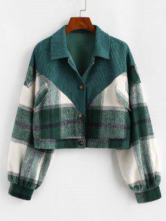 ZAFUL Plaid Corduroy Panel Wool Blend Jacket - Deep Green M