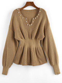 ZAFUL Beading Drop Shoulder Smocked Sweater - Light Coffee L
