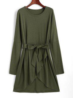 Drop Shoulder Belted Tulip Dress - Light Green M
