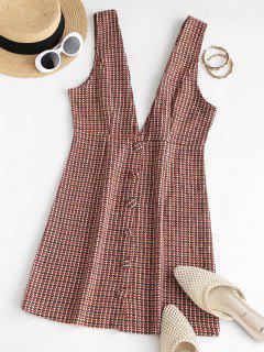 Button Up Plaid Mini Pinafore Dress - Coffee L