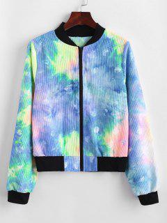 Zip Up Tie Dye Corduroy Jacket - Blue M